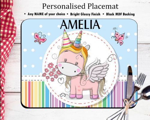 Personalised Placemat N16 - Rainbow Unicorn & Butterflies